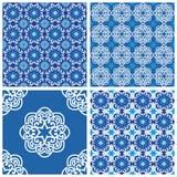 Reeks blauwe vector naadloze patronen Royalty-vrije Stock Fotografie