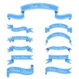 Reeks blauwe vectorbannerlinten Stock Fotografie