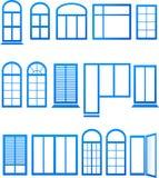 Reeks blauwe vensterpictogrammen Stock Afbeelding