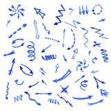 Reeks blauwe waterverfpijlen Stock Foto