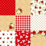 Reeks bloemen en geometrische achtergronden Vector illustratie royalty-vrije illustratie