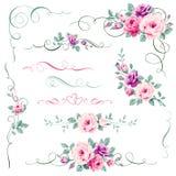 Reeks bloemen kalligrafische elementen Ornament met rozen voor de decoratie van de groetkaart Royalty-vrije Stock Foto
