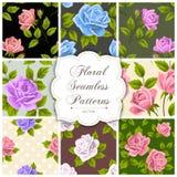 Reeks bloemen naadloze patronen Stock Afbeelding