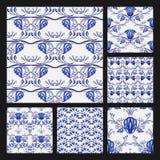 Reeks bloemen naadloze patronen in etnische stijl van het nationale porselein schilderen Mooi blauw patroon op een witte achtergr stock illustratie