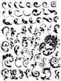 Reeks bloemenelementen en bossen Royalty-vrije Stock Afbeeldingen