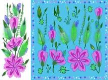 Reeks Bloemenelementen met Violet Daisy Type Flowers, Bladeren en Knoppen Vector Getrokken Botanische Flora voor Decoratie, Huwel royalty-vrije illustratie