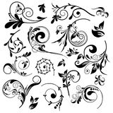 Reeks bloemenelementen voor ontwerp, vector Stock Afbeelding