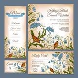 Reeks bloemenhuwelijkskaarten stock illustratie
