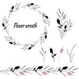 Reeks bloemenpatronen en vectorkronen stock illustratie