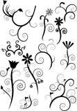 Reeks bloemenwervelingen Royalty-vrije Stock Foto