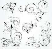Reeks bloemenwervelingsontwerpen Royalty-vrije Stock Afbeeldingen