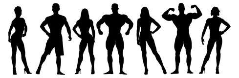 Reeks bodybuilders vectorsilhouetten posing stock illustratie