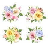 Reeks boeketten van kleurrijke rozen en lisianthusbloemen Vector illustratie Stock Foto