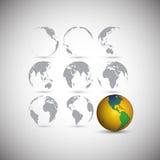 Reeks bollen, de vectorillustratie van de wereldkaart Stock Fotografie