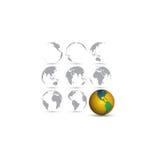 Reeks bollen, de vectorillustratie van de wereldkaart Stock Afbeelding