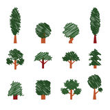 Reeks bomen De stijl van de handtekening Inzameling van ontwerpelementen Royalty-vrije Stock Fotografie
