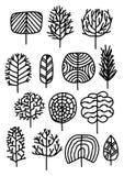 Reeks bomen in een schetsstijl Vector illustratie stock afbeeldingen