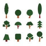 Reeks bomen Inzameling van ontwerpelementen Geplaatste pictogrammen Royalty-vrije Stock Afbeeldingen