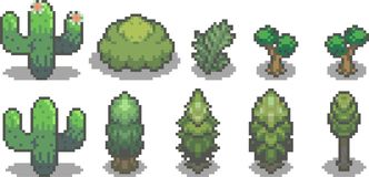 Reeks bomen in pixelstijl Royalty-vrije Stock Foto