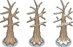 Reeks bomen in pixelstijl Royalty-vrije Stock Afbeelding