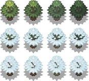 Reeks bomen in pixelstijl Stock Afbeelding