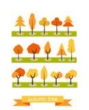 Reeks bomen Vlak Ontwerp De symbolen van de de herfstboom Editable vectorreeks vector illustratie