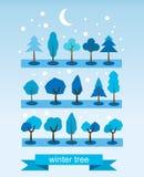 Reeks bomen Vlak Ontwerp De symbolen van de de winterboom Editable vectorreeks vector illustratie