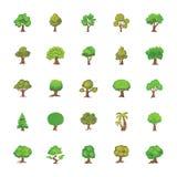 Reeks Bomen Vlakke Vectorpictogrammen Stock Afbeeldingen