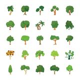 Reeks Bomen Vlakke Vectorpictogrammen vector illustratie