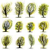 Reeks bomenillustraties. Stock Foto's