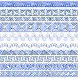 Reeks borstels om Griekse Meanderpatronen tot stand te brengen Stock Afbeelding