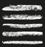 Reeks borstels van het grungekrijt Stock Afbeelding