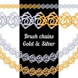 Reeks borstels van het kettingenmetaal - goud en zilver stock illustratie