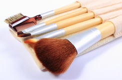Reeks borstels voor make-up Royalty-vrije Stock Afbeeldingen