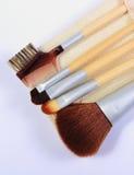 Reeks borstels voor make-up Stock Foto's