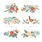 Reeks Botanische grafische elementen Royalty-vrije Stock Fotografie