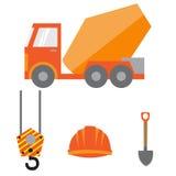 Reeks bouwmateriaal en hulpmiddelen, vectorbeeld Vlak pictogram Royalty-vrije Stock Fotografie