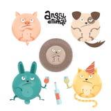 Reeks boze roung anilams en huisdieren De vlakke illustratie van de beeldverhaalstijl met texturen van varken, hond, egel, konijn royalty-vrije illustratie