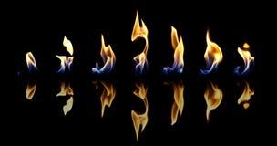 Reeks brandvlammen Stock Fotografie