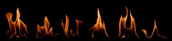 Reeks brandvlammen Stock Afbeeldingen