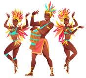 Reeks Braziliaanse sambadansers Rio de Janeiro Het vector de meisjes en de kerel dansen van Carnaval vector illustratie