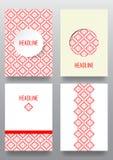 Reeks brochures met etnisch ornamentpatroon in witte rode kleur Stock Afbeelding