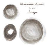 Reeks bruine vlekken Abstracte modieuze waterverf Stock Foto's
