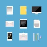 Reeks Bureau en Bedrijfspictogrammen, brief, tablet Stock Afbeelding