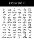 Reeks bureaupictogrammen in moderne dunne lijnstijl Royalty-vrije Stock Afbeeldingen