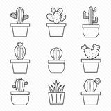 Reeks cactuspictogrammen Stock Fotografie