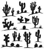 Reeks cactussen op wit Stock Afbeeldingen