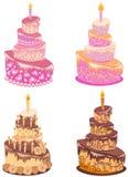 Reeks cakes Royalty-vrije Stock Afbeelding