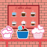 Reeks cakes en punten van de koffiewinkel met americano Royalty-vrije Stock Fotografie