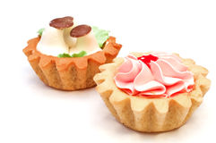 Reeks cakes met boterroom Stock Afbeeldingen